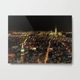 New York City Skyscraper Skyline Landscape Painting by Jeanpaul Ferro Metal Print
