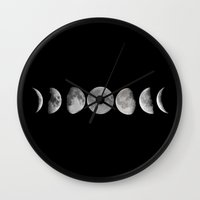 lunar Wall Clocks featuring Lunar by Christine DeLong Creative Studio