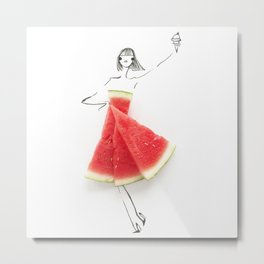 Edible Ensembles: Watermelon Metal Print