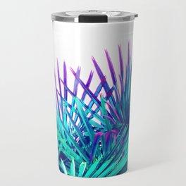 Cool modern teal purple gradient artistic palm tree tropical plants Travel Mug