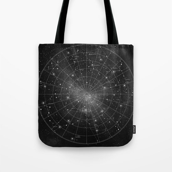 Constellation Star Map (B&W) Tote Bag