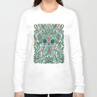 calavera Long Sleeve T-shirts featuring Calavera Cat by Anna Alekseeva kostolom3000