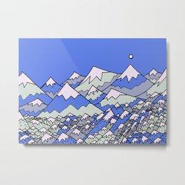 Blue mountainous land Metal Print
