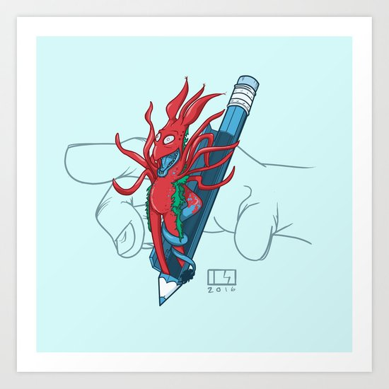 Blue Pencil Monster Art Print