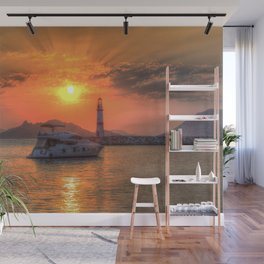 Lighthouse And Yacht Sunset Wall Mural