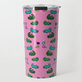 Alligators and Flowers Pink Travel Mug