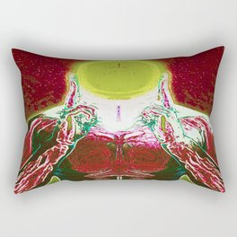 MIND #3 Meditating Telepathic Character Psychedelic Colorful Design Rectangular Pillow