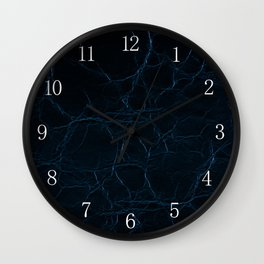 Dark blue leather texture abstract Wall Clock