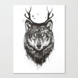 Deer wolf (b&w) Canvas Print