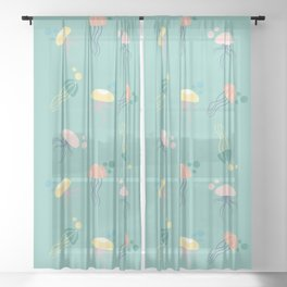 Colorful pastel jellyfish in a seamless design Sheer Curtain