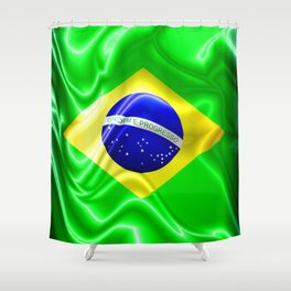 Brazil Flag Waving Silk Fabric Shower Curtain