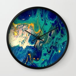 blue and gold Wall Clock