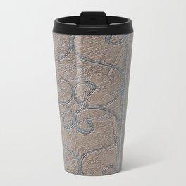 Blue Grey S Curve Curls Terracotta Wall Metal Travel Mug