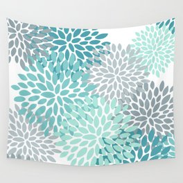 Floral Pattern, Aqua, Teal, Turquoise and Gray Wall Tapestry
