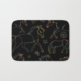 Galloping Horses, Rainbow Gradient on Black Bath Mat