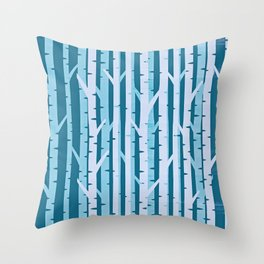 Abstract Birch Forest On Woven Silk Throw Pillow