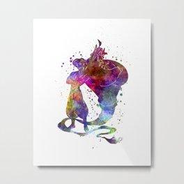 Aladin and te genious watercolor art Metal Print