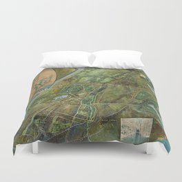 Vintage Map of the Bronx NY (1915) Duvet Cover