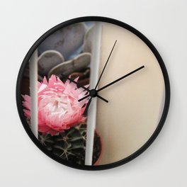 Cactus with Pink Flower in Birdcage Wall Clock