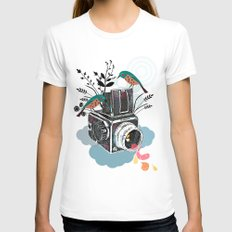 Vintage Camera Hasselblad White Womens Fitted Tee X-LARGE