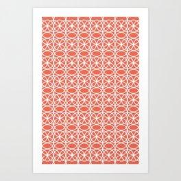Pantone Living Coral and White Rings, Circle Heaven 2, Overlapping Ring Design - Digital Artwork Art Print
