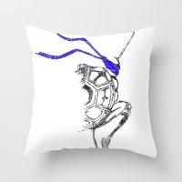 ninja Throw Pillows featuring Ninja by Future Emperor
