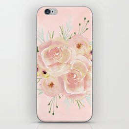 Wild Roses on Seashell Pink Watercolor iPhone Skin