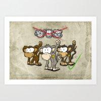 Protest Monkeys Art Print