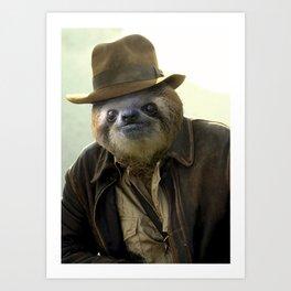 Archeologist Sloth Art Print