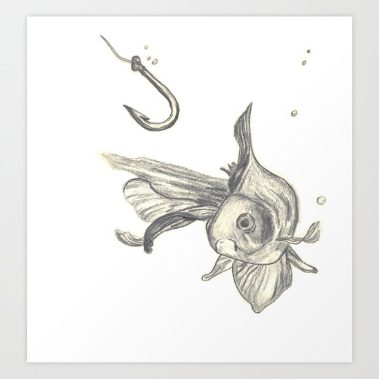 fishing in the fish tank Art Print
