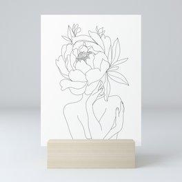 Minimal Line Art Woman Flower Head Mini Art Print