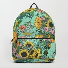 Trendy yellow sunflowers and pink roses mint design Backpack