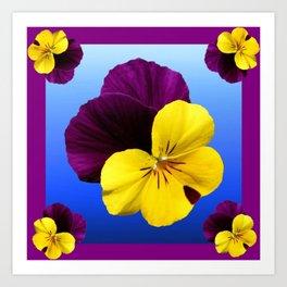 Decorative Shaded Blur Yellow-Purple Violas Art Art Print