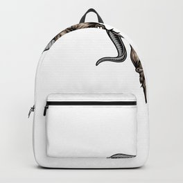 Colorful Angry Horned Goat Head Backpack