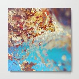 Turquoise Gold Metal Print