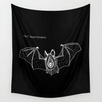 vagina Wall Tapestries featuring Batgina on black by oyasumikisi