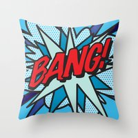 comic book Throw Pillows featuring Comic Book BANG! by Thisisnotme