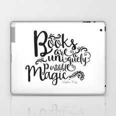 Books are a Uniquely Portable Magic BW Laptop & iPad Skin