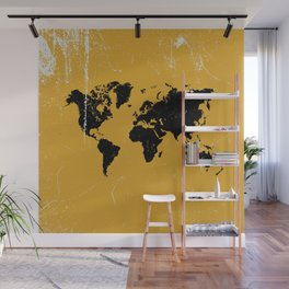 Grunge world map Wall Mural
