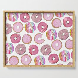 Cute Pink Sprinkle Confetti Watercolor Donuts Serving Tray