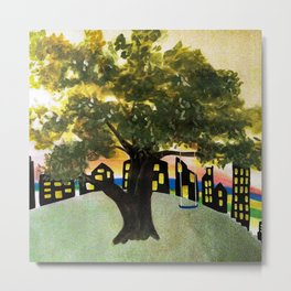 The Tree Swing on the Hill Metal Print