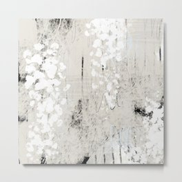 Grey and White Abstract with Black Texture: Scribble Series 02 Metal Print