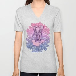 Cute Baby Elephant in pink, purple & blue Unisex V-Neck