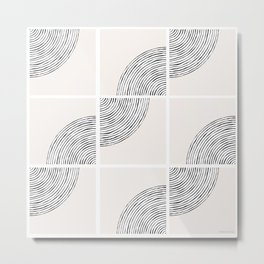 Threads; Black, White and Neutral Tile Pattern Metal Print