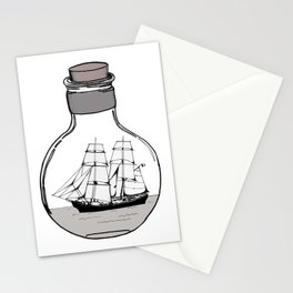 The ship in the glass bulb . Artwork Stationery Cards