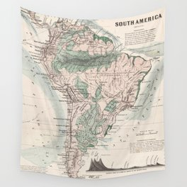 Vintage Map of South America (1858) Wall Tapestry