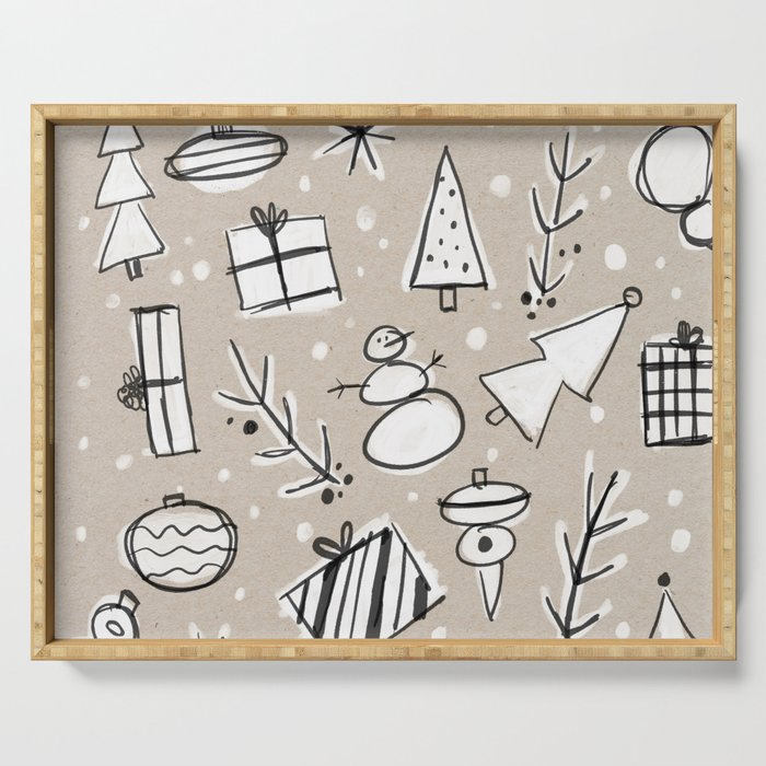 Christmas White and Kraft Sketches Serving Tray