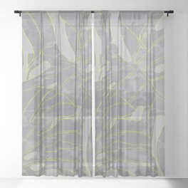 neon camouflage monstera leaves Sheer Curtain