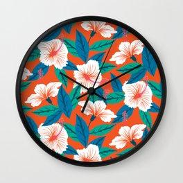 White hibiscus Wall Clock