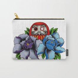 Daruma Doll Peony Flowers Tattoo Carry-All Pouch